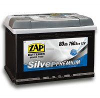 ZAP Silver Prémium 12V 80Ah akkumulátor jobb+