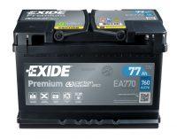 12V 77Ah autó akkumulátor Exide Premium jobb+
