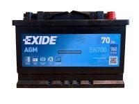 Exide AGM 12V 70Ah Start-Stop akkumulátor jobb+ EK700
