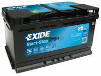 Exide 12V 80Ah Start-Stop akkumulátor EFB jobb+ EL800