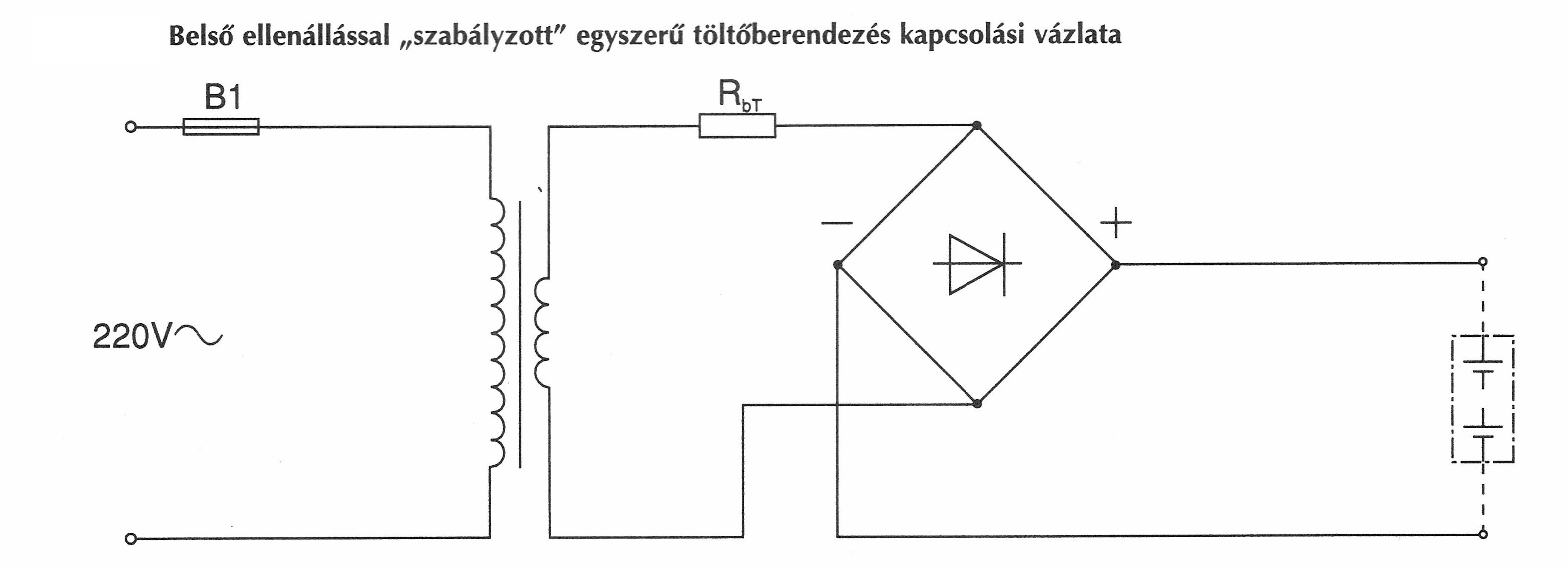 Belső ellenállással ellátott akkumulátor töltő kapcsolási ábra