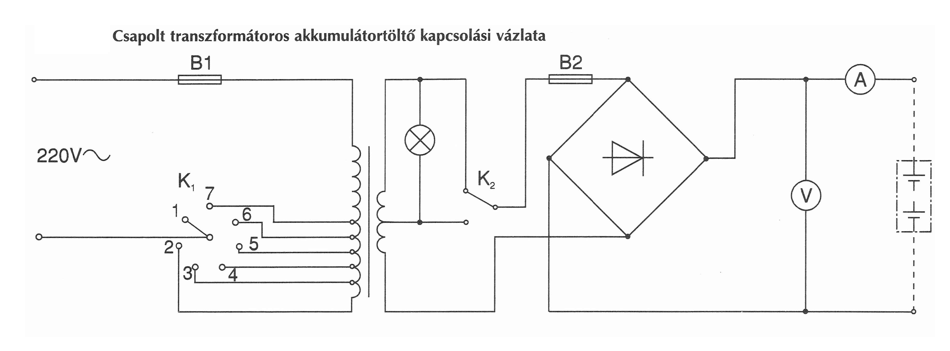 Csapolt transzformátoros akkumulátor töltő kapcsolási ábra